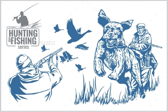 GraphicRiver Hunting and Fishing Vintage Emblem 10403986