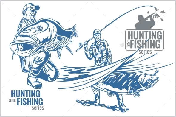 GraphicRiver Hunting and Fishing Vintage Emblem 10404008