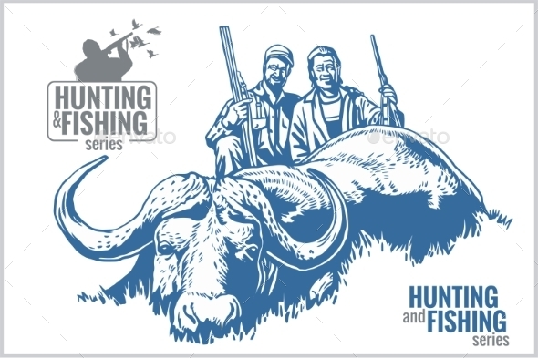 GraphicRiver Hunting and Fishing Vintage Emblem 10404030