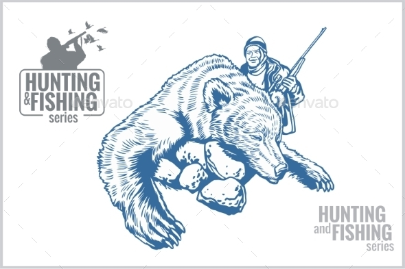 Hunter and Bear Vintage Illustration
