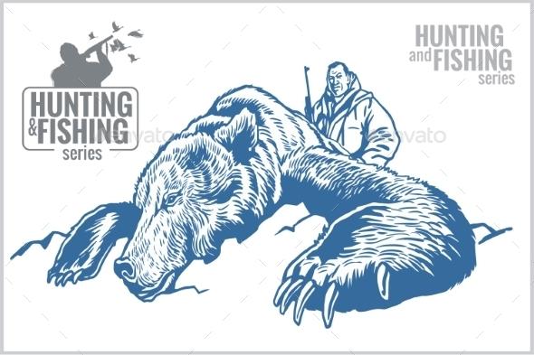 GraphicRiver Hunter and Bear Vintage Illustration 10404144