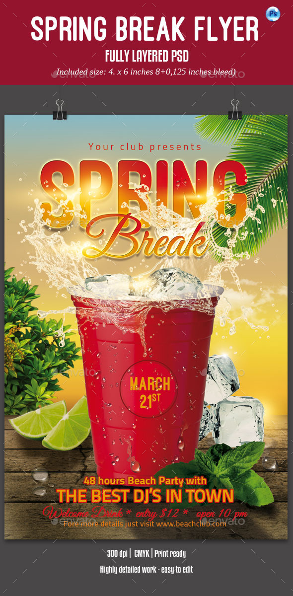 GraphicRiver Spring Break Party Flyer 10405134
