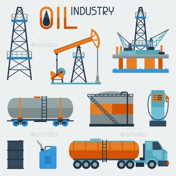 GraphicRiver Industrial Set of Oil and Petrol Icons 10405826