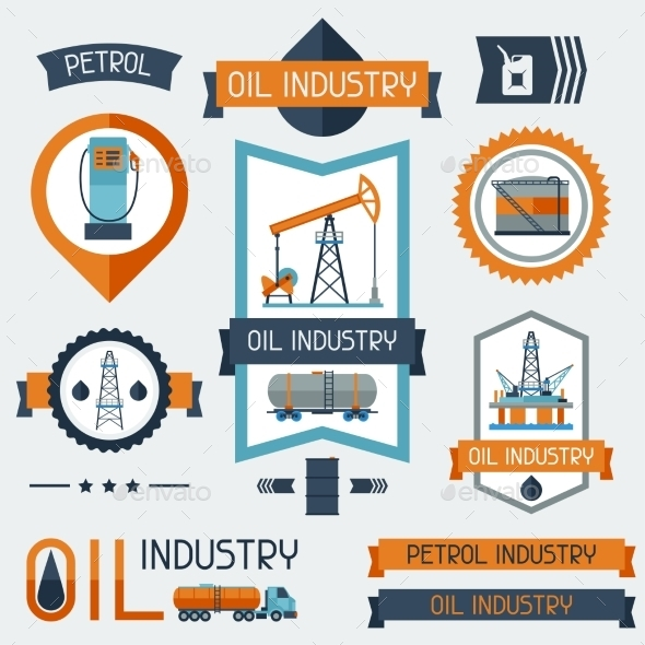 GraphicRiver Industrial Badges with Oil and Petrol Icons 10405884