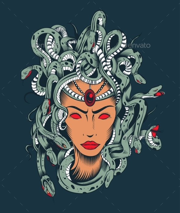 GraphicRiver Illustration of Medusa Gorgon Head 10406119