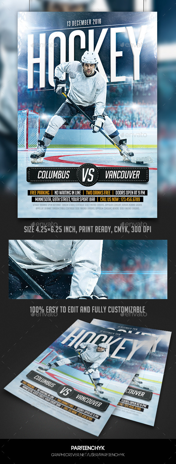 GraphicRiver Hockey Game Flyer Template 10406372