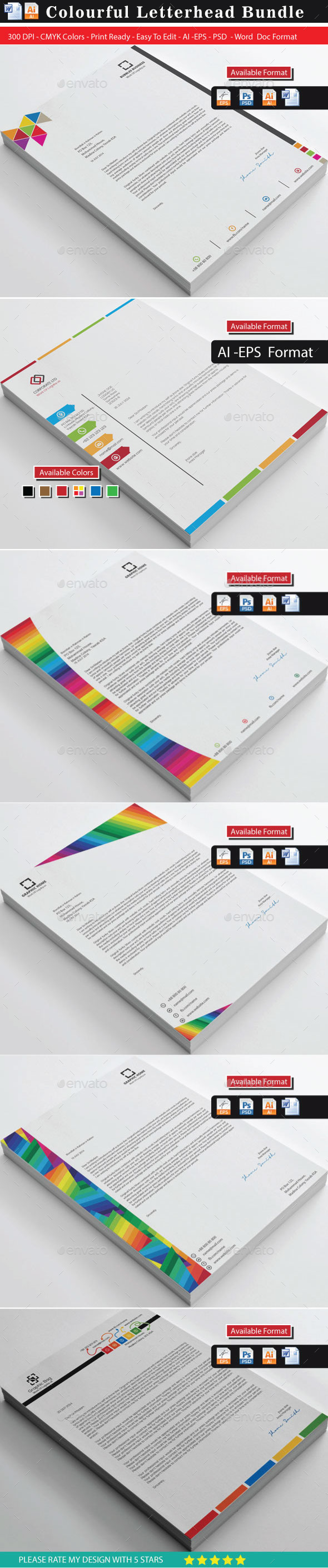 GraphicRiver 32 Clean & Creative Color Letterhead Bundle 10406432