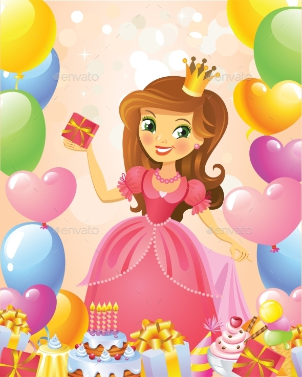 GraphicRiver Happy Birthday Princess Greeting Card 10406534