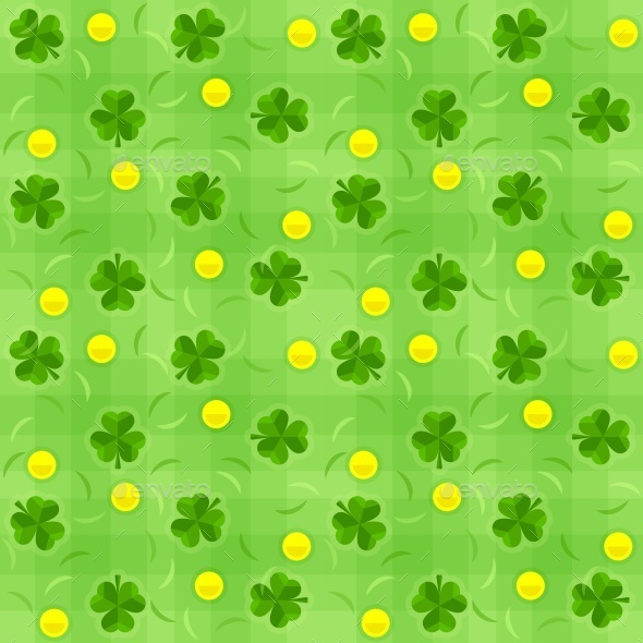 GraphicRiver Saint Patricks Day Shamrock and Gold Coins 10406599