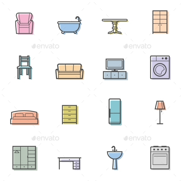 GraphicRiver Home Furniture Icons 10406692