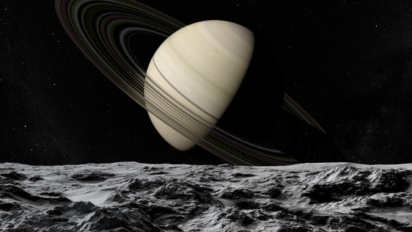 Flying Above Moon of Saturn