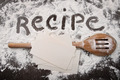 Word recipe written in white flour and spatula on wood - PhotoDune Item for Sale
