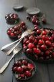 Fresh  cherries in aluminum plates - PhotoDune Item for Sale