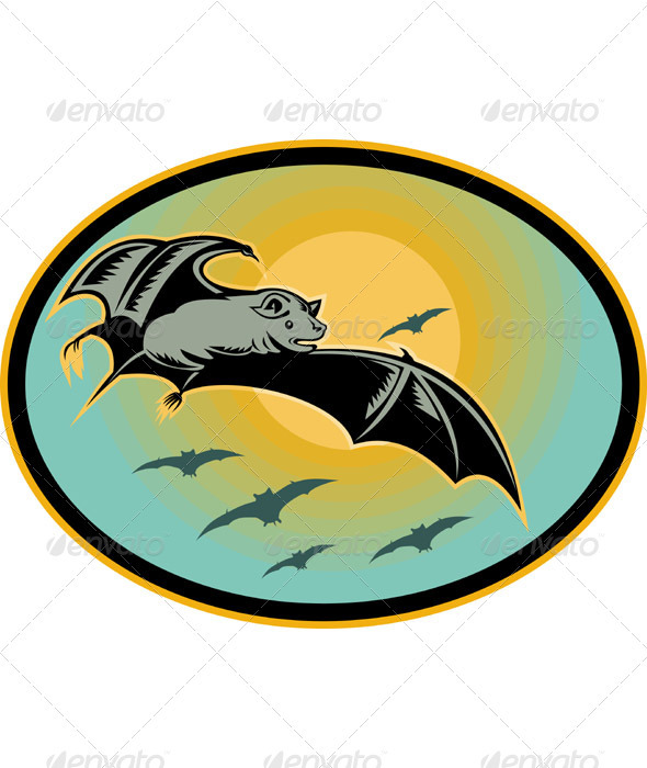 Bat Flying With Moon Retro Woodcut Style