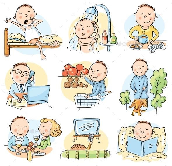 GraphicRiver Cartoon Man Daily Activities 10408907