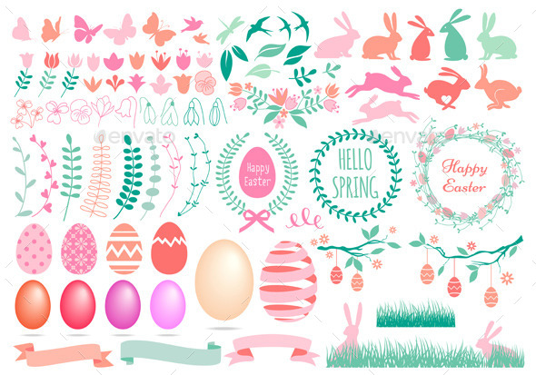 GraphicRiver Happy Easter Set 10409245