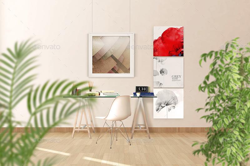 Beautiful 13 Interior Wall Mockup Photos