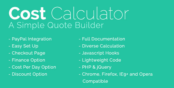 CodeCanyon Cost Calculator With PayPal Integration 10234630