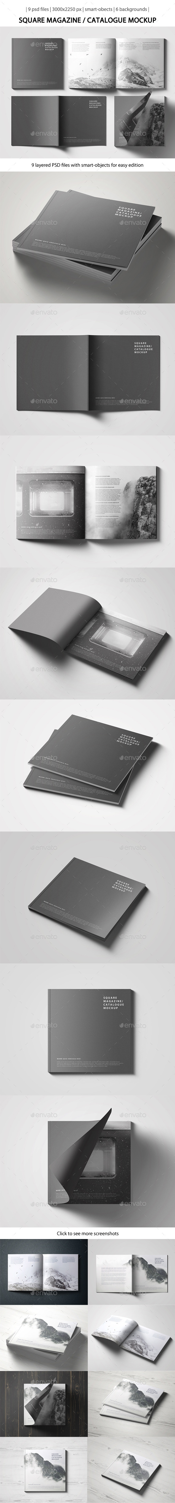Square Magazine Catalogue Mockup