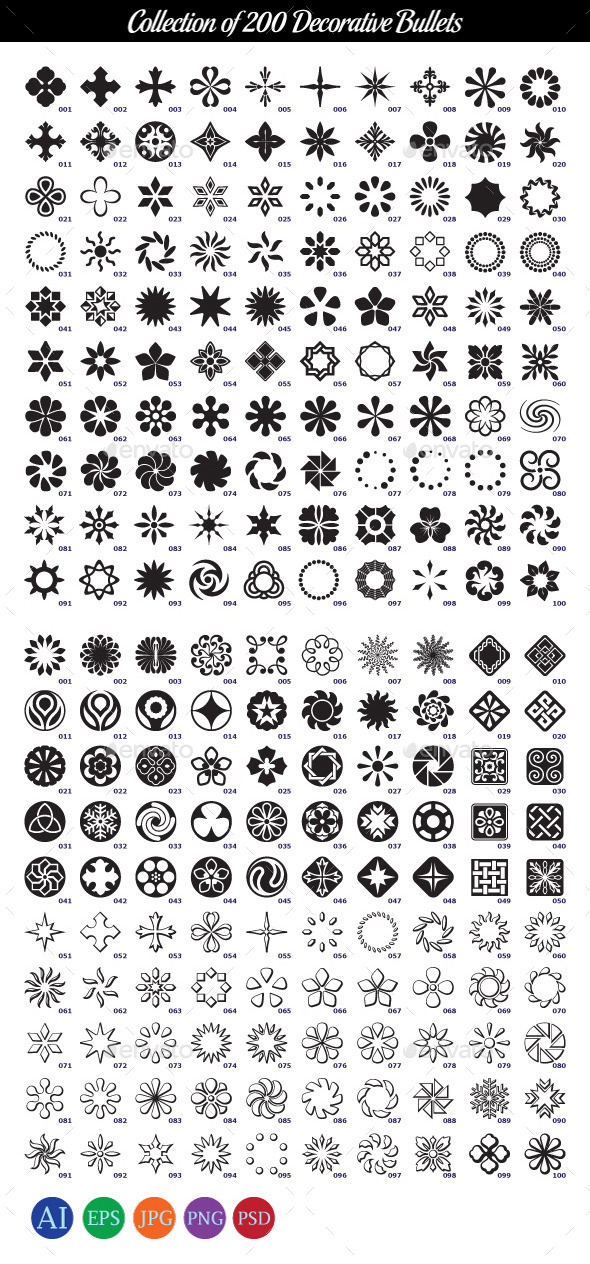 GraphicRiver Collection of 200 Decorative Bullets 10410433