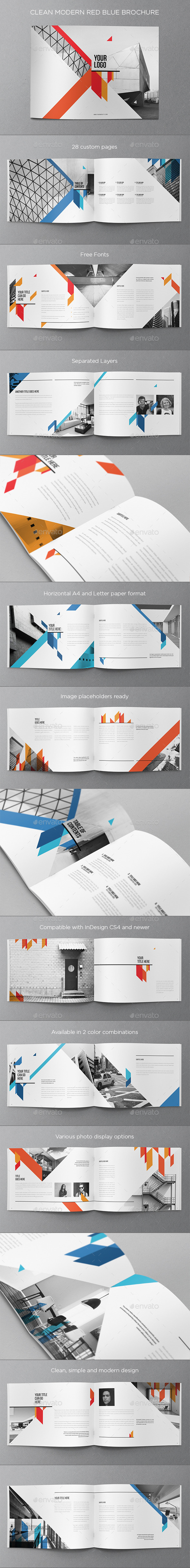GraphicRiver Clean Modern Red Blue Brochure 10410539