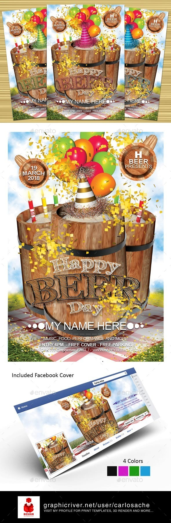 GraphicRiver Happy Beer Day Flyer Template 10410971