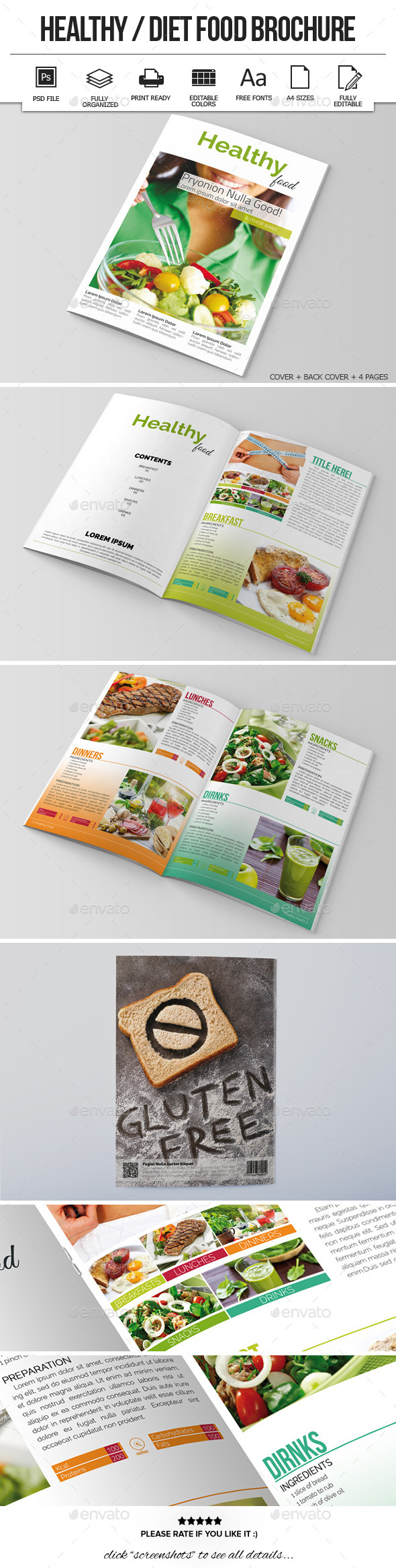 free food brochure templates - healthy diet food brochure template graphicriver