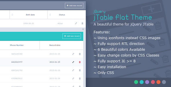 CodeCanyon jTable Flat Theme 10279325