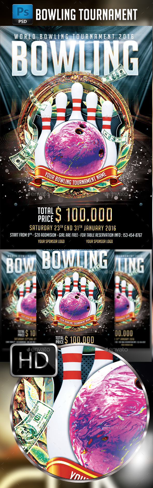 GraphicRiver Bowling Tournament Flyer Template 10411446