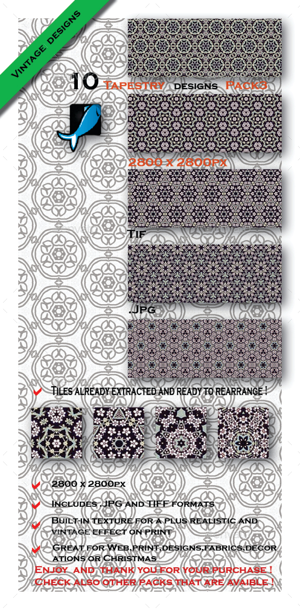 GraphicRiver 10 Medieval Patterns Pack3 10411453