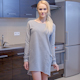 Blond Woman In Gray Dress Standing At The Kitchen 2 - VideoHive Item for Sale
