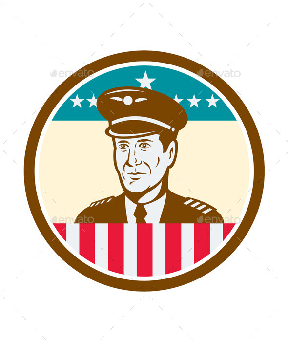 GraphicRiver Airline Pilot Aviator USA Flag Circle Retro 10411588