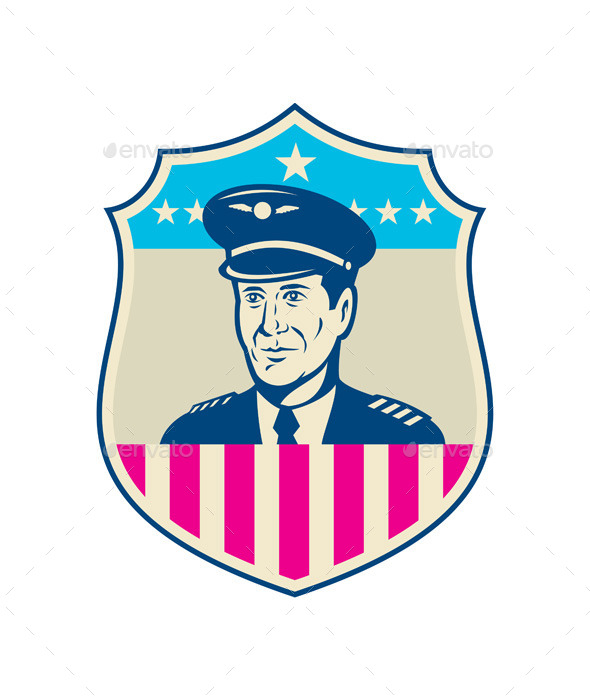 GraphicRiver American Airline Pilot Aviator USA Flag Shield 10411589