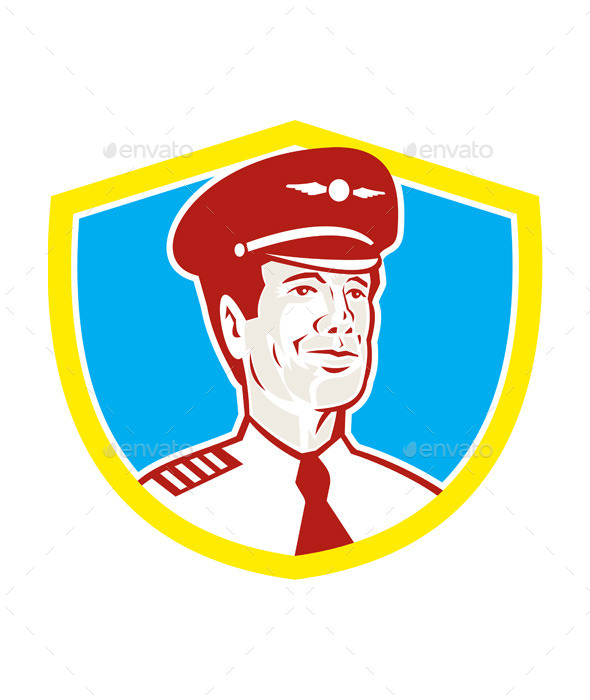 GraphicRiver Aircraft Retro Pilot Aviator Shield 10411594