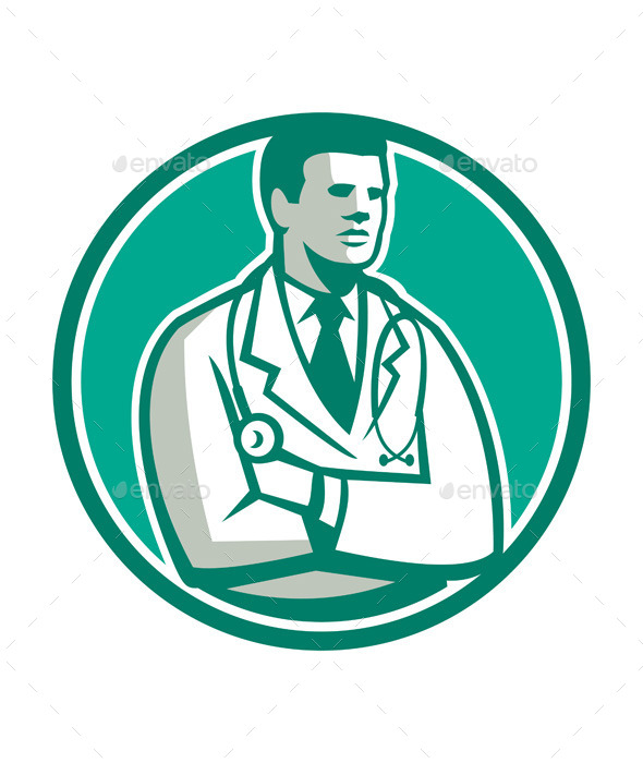 GraphicRiver Doctor Stethoscope Standing Circle 10411605