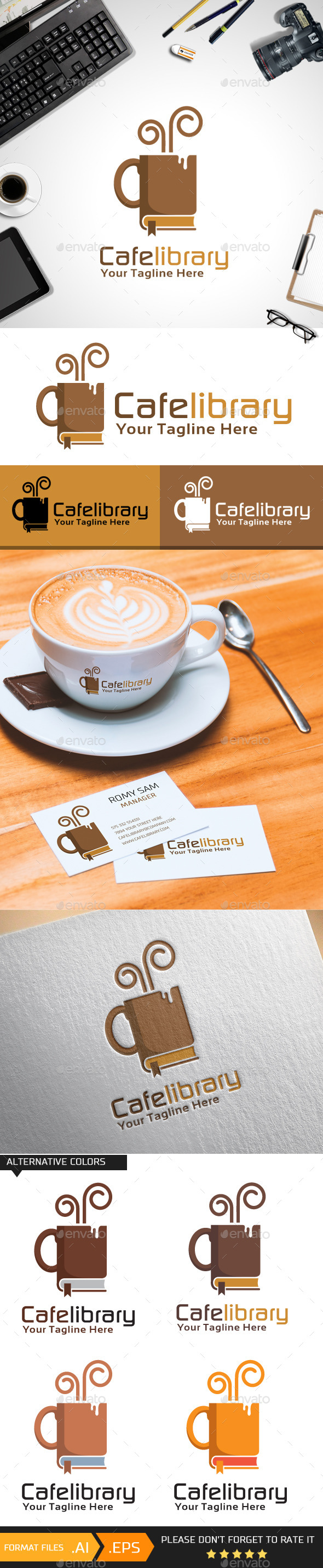 GraphicRiver Cafelibrary Logo Template 10412384