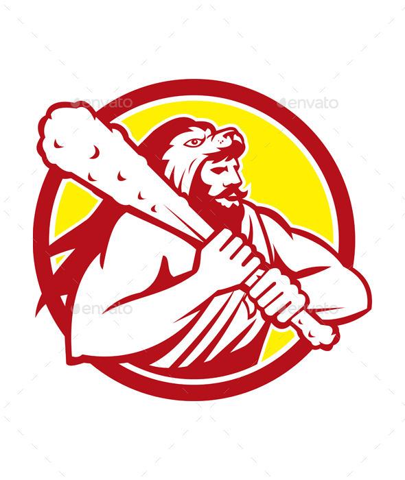 GraphicRiver Hercules in Lion Skin Wields Club Retro Circle 10412392