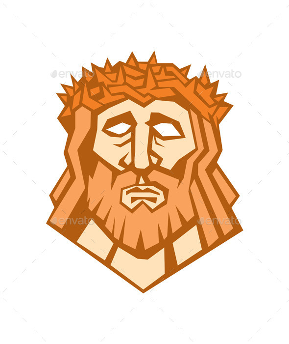 GraphicRiver Jesus Christ Face with Crown of Thorns 10412397