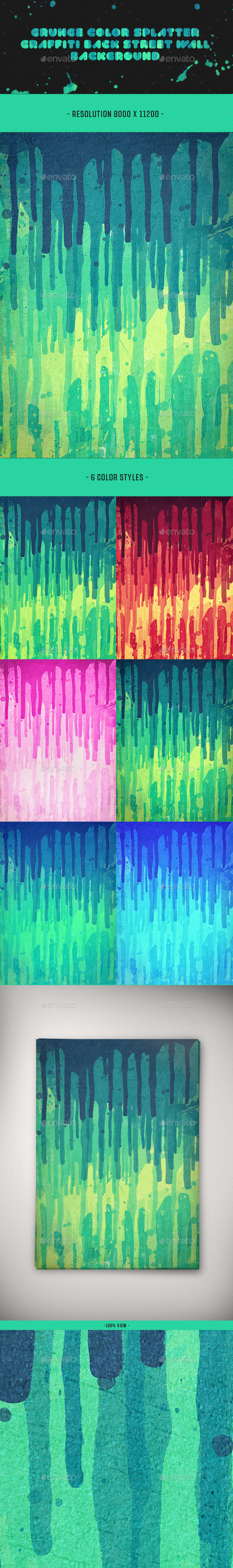 6 Grunge Color Splatter Graffiti Wall Background s