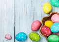 colored Easter eggs on wooden background - PhotoDune Item for Sale