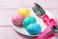 colorful easter eggs and cutlery - PhotoDune Item for Sale