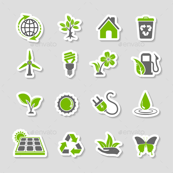 GraphicRiver Environment Icons Sticker Set 10413339