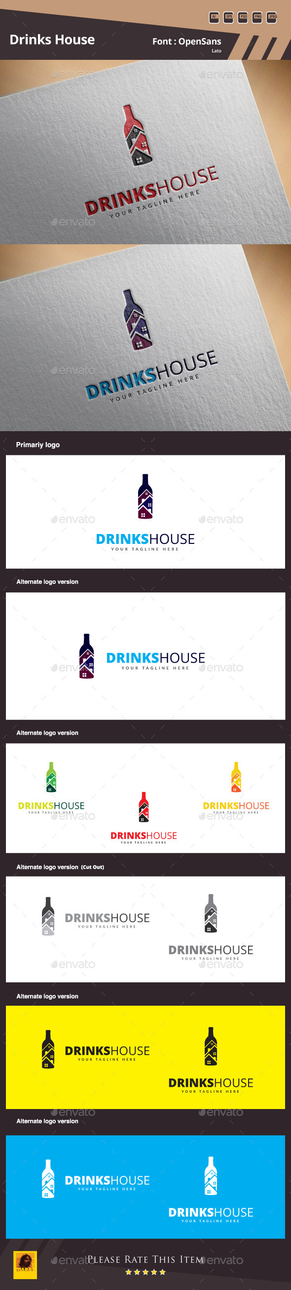 GraphicRiver Drinks House Logo Template 10413417