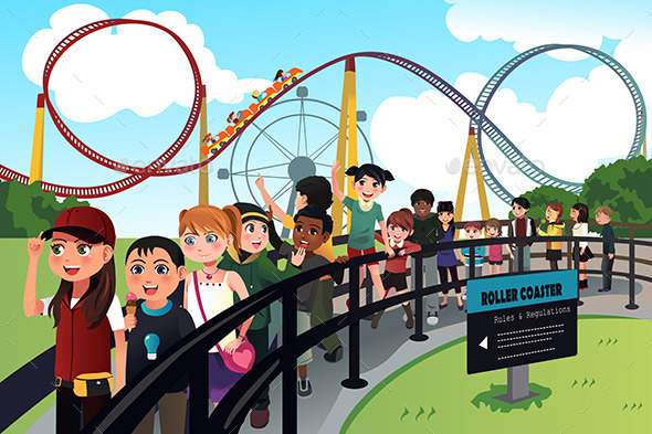 GraphicRiver Children Waiting in Line for a Roller Coaster Ride 10413481