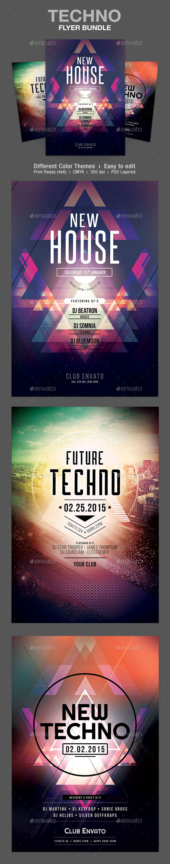 GraphicRiver Techno Flyer Bundle 10414032