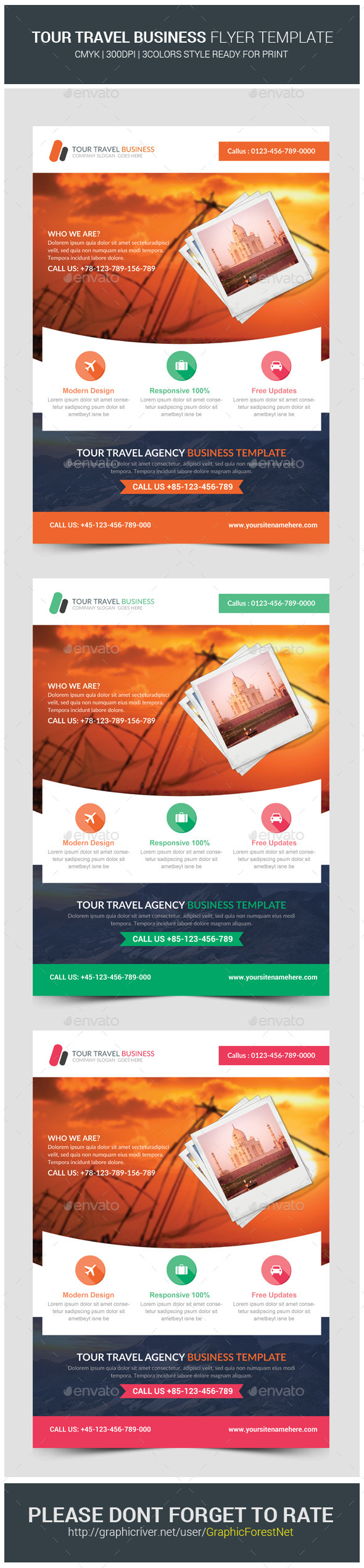 GraphicRiver Travel Tours Business Flyer Template 10414045