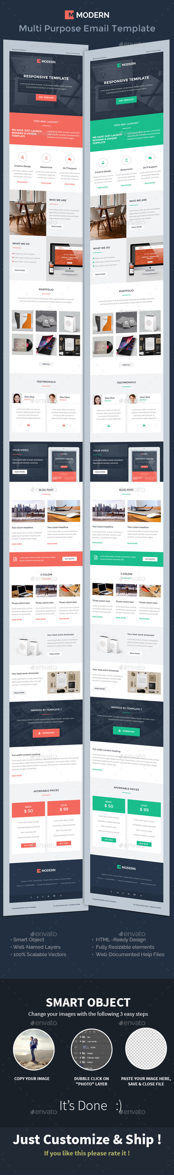 MODERN Responsive Multipurpose e-Mail Template