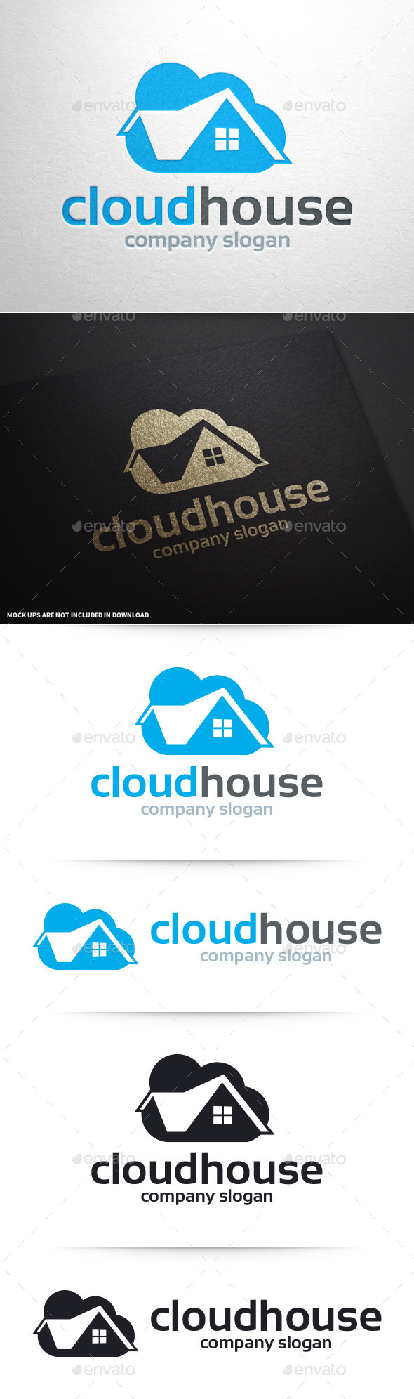 GraphicRiver Cloud House Logo Template 10414836