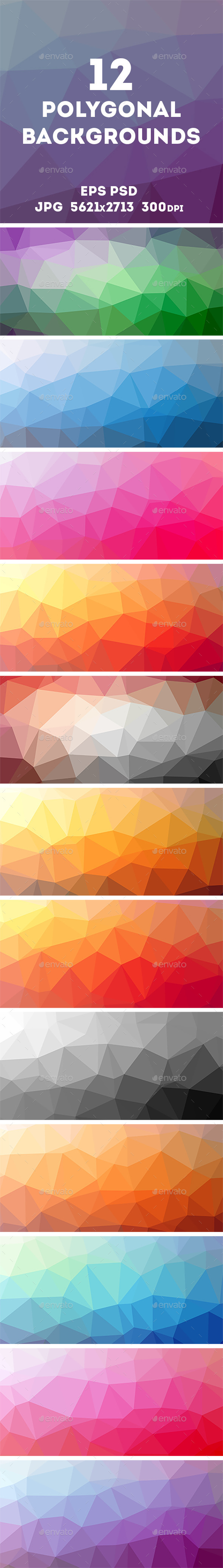 GraphicRiver 12 Polygonal Backgrounds 10414867