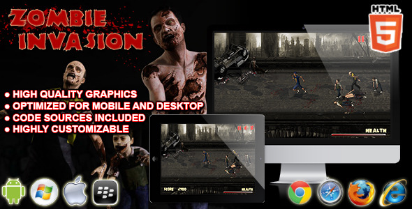 CodeCanyon Zombie Invasion HTML5 Survival Game 10415160